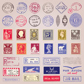 Vintage Postage Stamps, Marks And Stickers — Vecteur