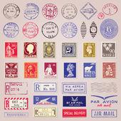 Vintage de timbres-poste, des marques et des autocollants — Vecteur