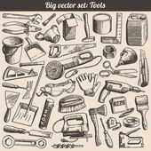 Doodles Collection Of Working Tools Instruments Vector — Stock Vector