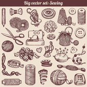 Sewing And Needlework Doodles Collection — Stock Vector