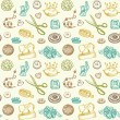 Stock Vector: Sewing And Needlework Doodles Seamless Pattern Vector
