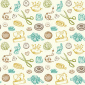 Sewing And Needlework Doodles Seamless Pattern Vector — Stock Vector