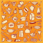 Cozinha e culinária doodle defina vetor — Vetorial Stock