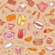Kitchen And Cooking Seamless Pattern Vector — ストックベクタ