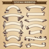 Vintage Ribbon Banners Vector Collection — Stock Vector