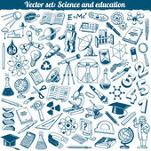 Science And Education Doodles Icons Vector Set — Stock Vector