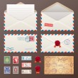Mail Envelope, Stickers, Stamps, And Postcard Vintage Style — Stock Vector #43709483