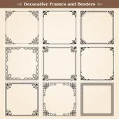 Decorative frames and borders set vector — Stockvektor