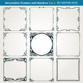 Vector de estilo art nouveau decorativo fronteras y marcos — Vector de stock