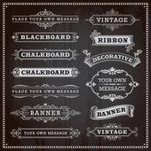 Vintage design elements - banners, frames and ribbons, chalkboar — Stock Vector