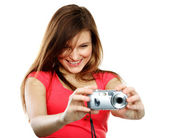 Woman with camera — Stockfoto