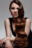 Long Wavy Hair. Good quality retouching. — 图库照片