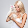 Blonde with dog — Stock Photo