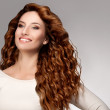 Red Hair. Woman with Beautiful Curly Hair — Stock Photo