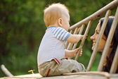 Happy family.A young mother and baby — Stock Photo