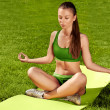 A beautiful sporty woman  doing stretching exercise against natu — Стоковая фотография