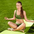 Yoga. Beautiful Woman doing Yoga Exercises in the Park. — Stock Photo