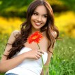 Beautiful Girl With Gerbera Flower Enjoying Nature. — Stock Photo