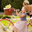 The Family in the Park on Bicycles. Happy Mother and Daughter — Stock Photo