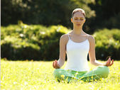 Beautiful Woman doing Yoga Exercises in the Park. — Stok fotoğraf