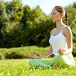 Young and beautiful woman doing yoga exercises .Yoga background — Stock Photo