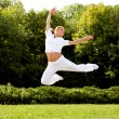 Happy Woman Jumping. Free Dancer. Freedom concept. — Stock Photo #33593701