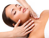 Face Massage. Close-up of a Young Woman Getting Spa Treatment. — Stock Photo