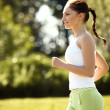Athletic Runner Training in a park for Marathon. — Stock Photo