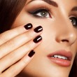 Beautiful Woman With Black Nails. Makeup and Manicure. — Photo