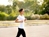 Athletic Runner Training in a park for Marathon. — Foto Stock