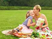 Happy family. A young mother and girl playing — Stock Photo
