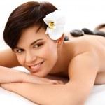 Постер, плакат: Stone Massage Beautiful Woman Getting Spa Hot Stones Massage
