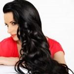 žena s černými vlnité vlasy — Stock fotografie #41402727