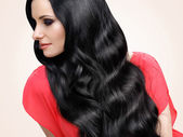 Woman with Black Wavy Hair — Stock Photo