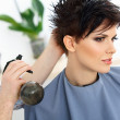 Hairdresser doing Hairstyle — Stock Photo