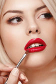 Woman with red lips — Stock Photo