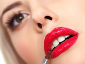 Woman with red lips — Stockfoto