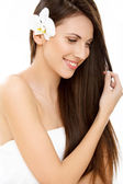 Woman with long healthy and shiny hair — Stock Photo
