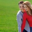 Portrait of attractive young couple in love outdoors. Love and f — Stock Photo #46765695