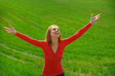 Enjoyment. Free Happy Woman Enjoying Nature. Beauty Girl Outdoor — Stock Photo