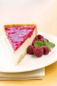 Homemade raspberry cheesecake slice — Stock Photo