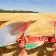 Detail of agriculture plow and stubble field — Stock Photo #34268867