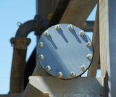 Industrial pipe cap flange — Stock Photo