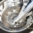 Front wheel of big motorcycle — Stock Photo