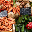 Vegetables on market stall — Stock Photo