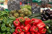 Vegetables on market stall — Stock Photo