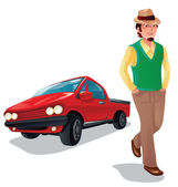 A boy with his car, isolated — Stock Vector