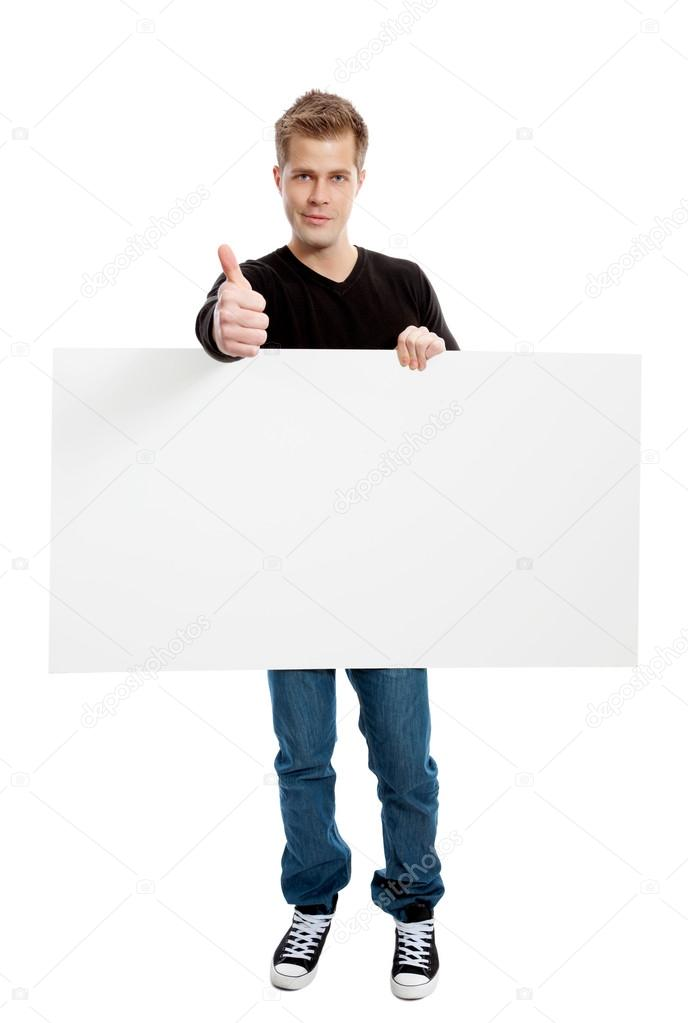 Casual young man holding a blank board — Foto Stock #16215719