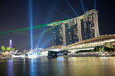 Marina bay laser show in Singapore — 图库照片
