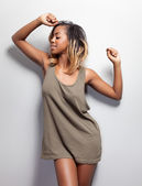 Young black woman in a tanktop — Stock Photo